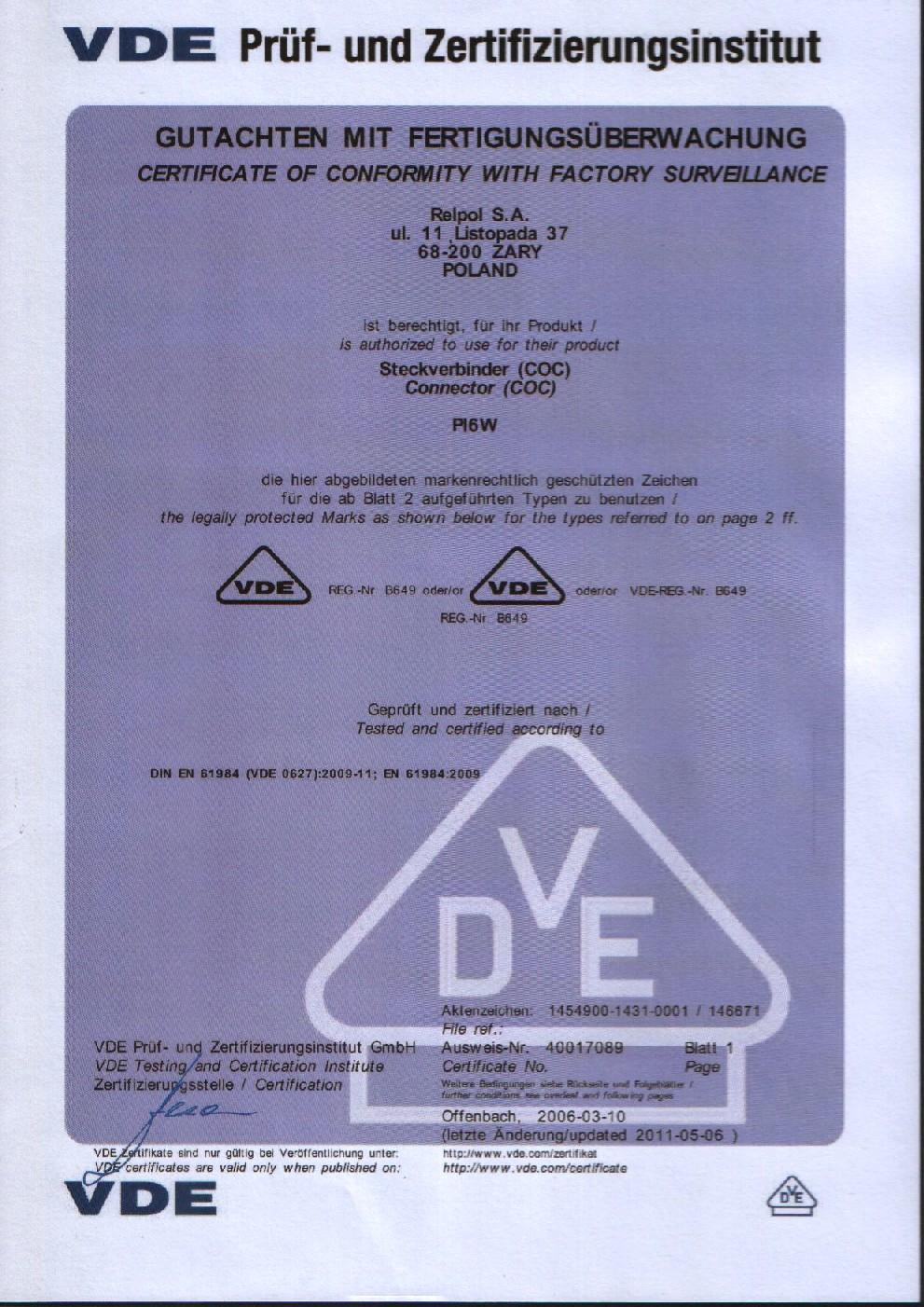 Certificates vde certificates relpol sa certificate vde sockets pi6w xflitez Choice Image