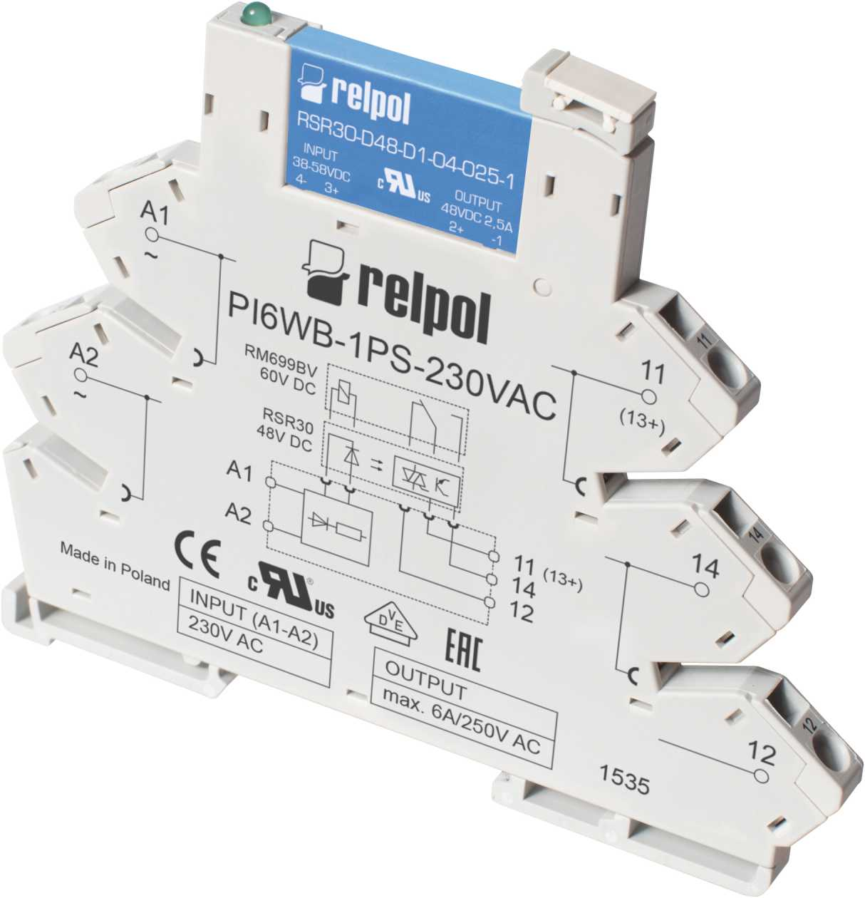 Relay Pir6wb 1ps Interface Solid State Relays Relpol Sa Dc Circuit